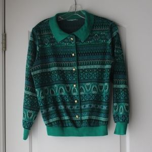 Vtg 80s / 90s green blue sweater Cardigan